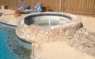 A $6500 pool tile and coping renovation/ remodel with scabos travertine tile and coping